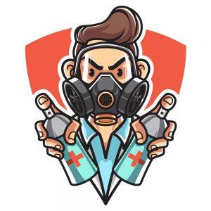 Camiseta hombre con dos aerosoles - Coronavirus