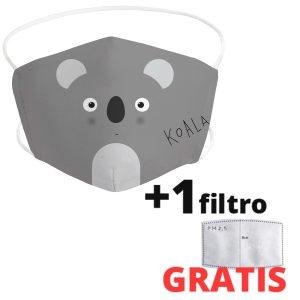 Mascarilla para niños de tela lavable de koala + 1 filtro GRATIS Envío rápido