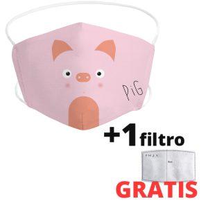 Mascarilla de cerdo infantil de tela lavable + 1 filtro GRATIS