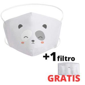 Mascarilla de oso panda infantil de tela lavable + 1 filtro GRATIS
