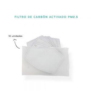 Pack 10 filtros de carbon activado pm2.5