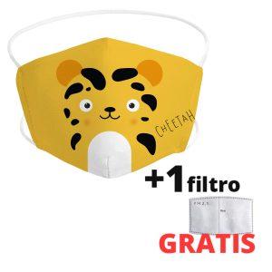 Mascarilla de león panda infantil de tela lavable + 1 filtro GRATIS