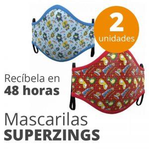 SUPERZINGS – Pack 2 mascarillas lavable para niños, con certificación