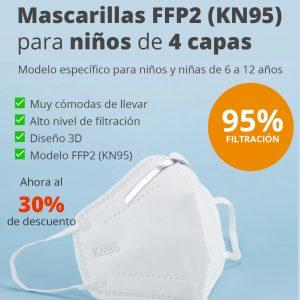 Mascarilla FFP2 KN95 para niños y niñas