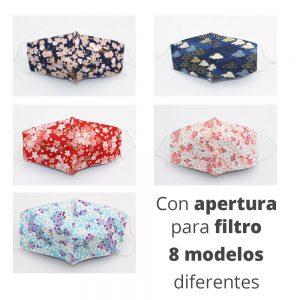 Mascarillas reutilizable de tela lavable con bolsillo para filtro