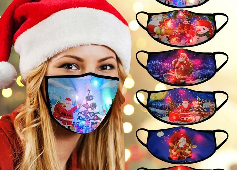 Mascarilla de Navidad con luces