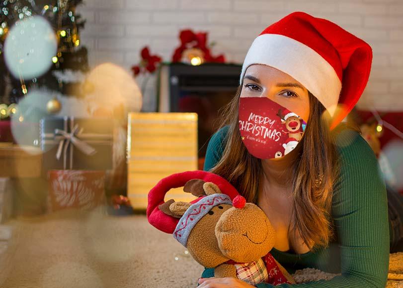 Mascarilla de tela para Navidad